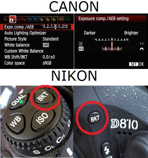 Canon ve Nikon marka fotoğraf makinelerinde Bracketing özellikleri